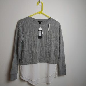 GUESS LS Jacquard Stone Heather Gray 2fer Top NWT